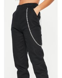 Missguided - Black Chain Detail Cargo Pants - Lyst