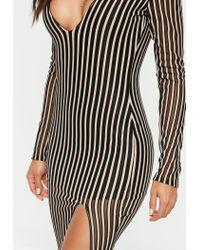 Missguided - Black Plunge Insert Mesh Stripe Midi Dress - Lyst