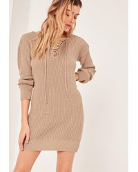 Missguided - Natural Nude Lace Up Chunky Stitch Mini Dress - Lyst