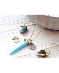 Missoma - Blue Turquoise Tusk And Labradorite Hamza Pendant Necklace - Lyst
