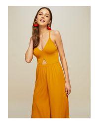 Miss Selfridge - Yellow Ochre Side Split Jumpsuit - Lyst