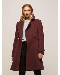 Miss Selfridge - Purple Burgundy Double Breasted Coat - Lyst