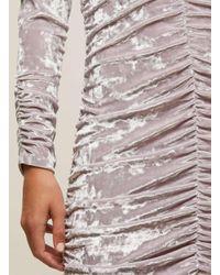 Miss Selfridge - Purple Lilac Velvet Big Sleeve Bodycon Dress - Lyst