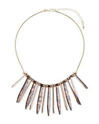 Miss Selfridge - Metallic Tortoise Shell Necklace - Lyst