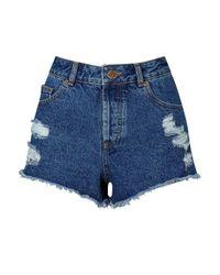 Miss Selfridge - Blue Distressed Denim Shorts - Lyst