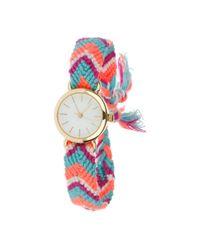 Miss Selfridge - Pink Woven Strap Watch - Lyst