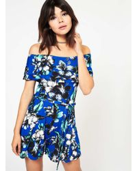 Miss Selfridge | Blue Print Bardot Playsuit | Lyst