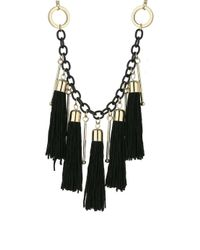 Miss Selfridge - Black Chain And Tassel Necklace - Lyst