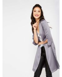Miss Selfridge - Pink Pewter Satin Side Tie Kimono Jacket - Lyst