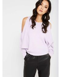 Miss Selfridge | Purple Lilac Slouchy Ribbed Knitted Jumper | Lyst