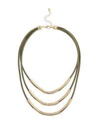 Miss Selfridge | Metallic Khaki Cord Multi Row | Lyst