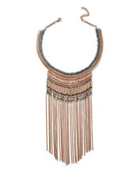 Miss Selfridge - Metallic Gold Tassel Beaded Necklace - Lyst
