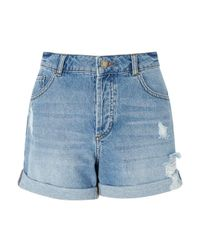 Miss Selfridge - Blue Boyfriend Roll Hem Shorts - Lyst