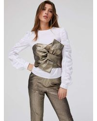 c78938895d6183 Lyst - Miss Selfridge Gold Twist Bandeau Top in Metallic
