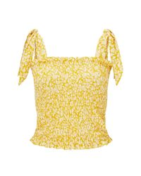 Miss Selfridge - Multicolor Ochre Shirred Tie Top - Lyst