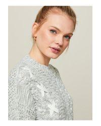 Miss Selfridge Gray Grey Contrast Lattice Knitted Jumper