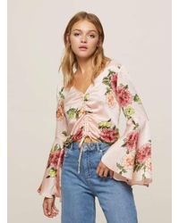 9a49552a083b2a Lyst - Miss Selfridge Pink Floral Print Drawstring Top in Pink