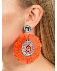 Miss Selfridge - Pink Mega Fringe Earrings - Lyst
