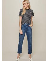 Miss Selfridge Straight Original Mid Blue Jeans