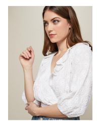 Miss Selfridge - White Embroidered Half Sleeve Crop Blouse - Lyst