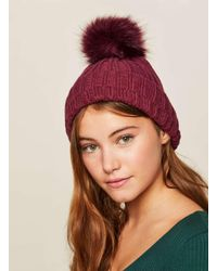 Exclusive Pom Pom Cable Beanie - Lilac Miss Selfridge