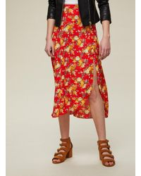 Miss Selfridge - Red Floral Button Midi Skirt - Lyst