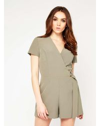 2923ac38ac Miss Selfridge Khaki D-ring Playsuit in Natural - Lyst