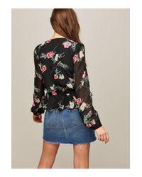 4ae681d1023ac Lyst - Miss Selfridge Cara Floral Button Tea Blouse in Black