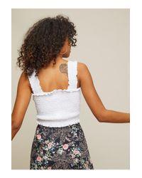 Miss Selfridge - White Shirred Pinny Crop Top - Lyst