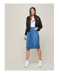 Miss Selfridge - Blue Buttoned Midi Denim Skirt - Lyst