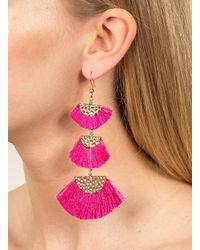 Miss Selfridge - Pink Fringe Tassel Earrings - Lyst