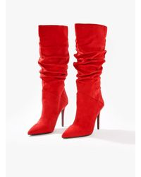 Miss Selfridge - Red Ola Slouch Stiletto Boots - Lyst