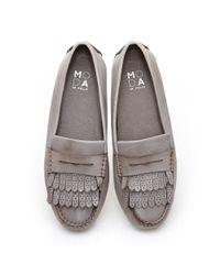 Moda In Pelle - Gray Anjie Grey Leather - Lyst