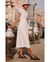 Lein - White Hadley's Linen And Cotton Midi Dress - Lyst