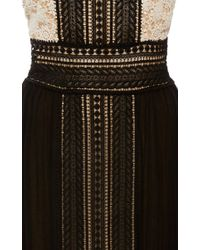 Naeem Khan - Black Pleated Chiffon Lace Gown - Lyst