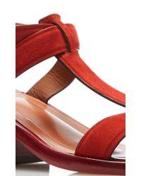 Rosetta Getty - Red Scarlet Suede Block Heel Tassel Sandal - Lyst