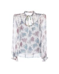 Luisa Beccaria - White Floral Printed Chiffon Blouse - Lyst