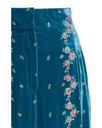 Luisa Beccaria - Blue Embroidered Velvet Pants - Lyst