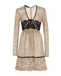 Burberry - Natural Cotton Lace Dress With Macramé Detailing - Lyst
