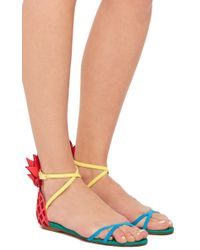Aquazzura - Pink Suede Pineapple Back Sandals - Lyst
