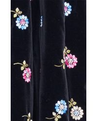 Luisa Beccaria - Black Embroidered Velvet Full Skirt - Lyst
