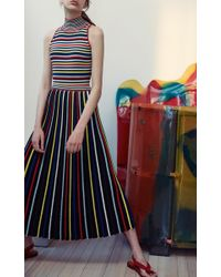 Rosetta Getty - Multicolor Pleated Stripe Knit Skirt - Lyst