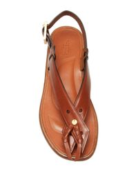 Rosetta Getty - Brown Cognac Calf Leather Flat Tassel Sandal - Lyst