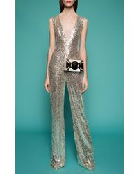 Naeem Khan - Metallic V-neck Sequined Jumpsuit - Lyst