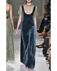 Luisa Beccaria - Multicolor Stretch Velvet And Tulle Embroidered Dress - Lyst