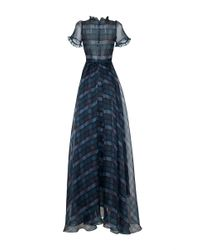 Luisa Beccaria - Multicolor Checked Printed Organza Full Skirt Long Dress - Lyst