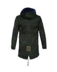 Mr & Mrs Italy - Green Fur Trimmed Hood Quilted Parka - Lyst