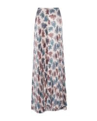 Luisa Beccaria - Multicolor Floral Printed Satin Pleated Skirt - Lyst