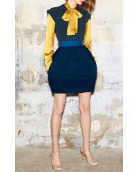Paule Ka - Blue Color Block Bubble Dress - Lyst