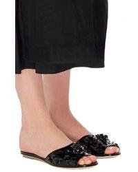 Simone Rocha - Black Embellished Leather Slides - Lyst